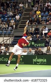 BELGRADE-APRIL 9:Player D.Lajovic(SRB)serving a ball during a match against Jaume MUNAR(ESP) during Quarterfinalsl Davis Cup Serbia-Espania.D.Lajovic won 2:1,on April 9,2017 in Belgrade,Serbia