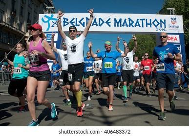 "BELGRADE-APRIL16:A group of runners start race on ""The29th Belgrade Marathon"".April 16, 2016 in Belgrade,Serbia"