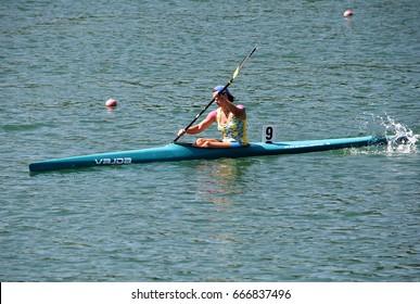 "BELGRADE-JUNE 24: K1 Jun Women 1000m Final A on"" Canoe Sprint Juniors and U23 European Championships-2107 "".June 24,2017 in Belgrade,Serbia."