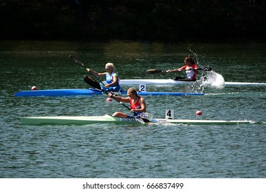 "BELGRADE-JUNE 25: K1 Jun Women 500m Final A on"" Canoe Sprint Juniors and U23 European Championships-2107 "".June 25,2017 in Belgrade,Serbia."