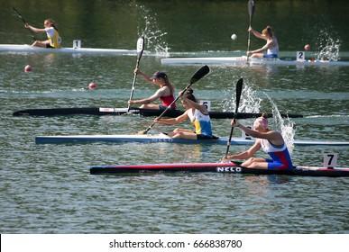 "BELGRADE-JUNE 25: K1 Jun Women 500m Final B on"" Canoe Sprint Juniors and U23 European Championships-2107 "".June 25,2017 in Belgrade,Serbia."