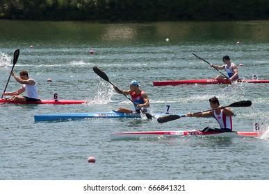 "BELGRADE-JUNE 25: K1 U23 Men 500m Final B  on"" Canoe Sprint Juniors and U23 European Championships-2107 "".June 25,2017 in Belgrade,Serbia."