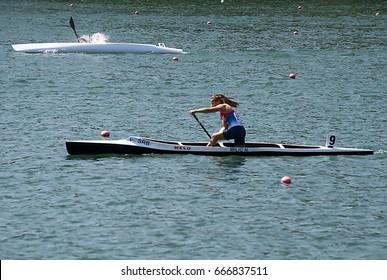 "BELGRADE-JUNE 25:C1 Women 500m Final A on"" Canoe Sprint Juniors and U23 European Championships-2107 "".June 25,2017 in Belgrade,Serbia."