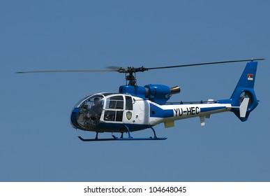 "BELGRADE-JUNE 3:""Celebration of Serbian Police day"",Serbian police helicopter in flight. On June 3,2012 in Belgrade,Serbia"
