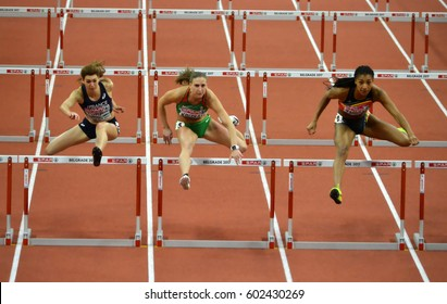 "BELGRADE-MARCH 3:Qualification Race on Pentathlon Women's 60m Hurdles at the""European Athletics Indoor Championships 2017"" on March 3,2017 in Belgrade,Serbia"