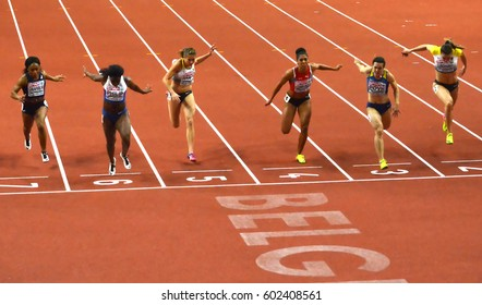 """BELGRADE-MARCH 5:60m final finish for woman at the""""European Athletics Indoor Championships 2017"""" on March 5,2017 in Belgrade,Serbia"""