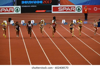 """BELGRADE-MARCH 5:60m final start for woman at the""""European Athletics Indoor Championships 2017"""" on March 5,2017 in Belgrade,Serbia"""