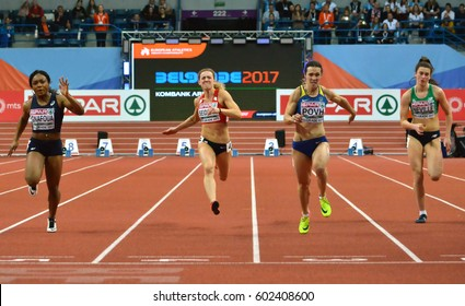 """BELGRADE-MARCH 5:60m semi final finish for woman at the""""European Athletics Indoor Championships 2017"""" on March 5,2017 in Belgrade,Serbia"""