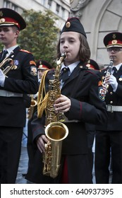 """BELGRADE-MAY 14.The girl playing the saxophone on """"Concert of Moscow Cadet Music Corps"""".On May 14,2017 in Belgrade,Serbia"""