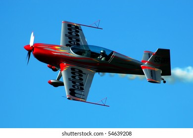 BELGRADE-OCTOBER 19, BELGRADE AIR SHOW, Acrobatic airplane with pilot Peter Podlunsek from Slovenia, OCTOBER 19, 2008 in BELGRADE, SERBIA