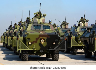 """BELGRADE-OCTOBER 20:Combat vehicles of the Serbian Military Police on """"A presentation of  the Army of Serbia-FREEDOM 2017"""".October 20,2017 in Batajnica, Belgrade, Serbia"""