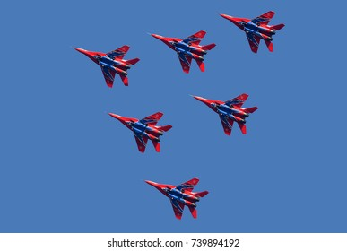 """BELGRADE-OCTOBER 20:Flight Acrobatic team Military-air orces of Russia """"Strizhi"""" on""""A presentation of  the Army of Serbia-FREEDOM 2017"""".October 20,2017 in Batajnica, Belgrade,Serbia"""