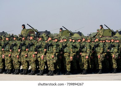 """BELGRADE-OCTOBER 20:Modern equipment of the Serbian Armed Forces on """"A presentation of  the Army of Serbia-FREEDOM 2017"""".October 20,2017 in Batajnica, Belgrade, Serbia"""