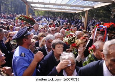 BELGRADE-OCTOBER 26: Serbian police officers hold back Tito supporters following the funeral of his widow, former Yugoslavia's first lady Jovanka Broz, in Belgrade, Serbia on October, 26, 2013