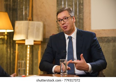 BELGRADE,REPUBLIC OF SERBIA/DECEMBER 08,2017: President of Republic of Serbia Aleksandar Vucic during an interview with Russian television