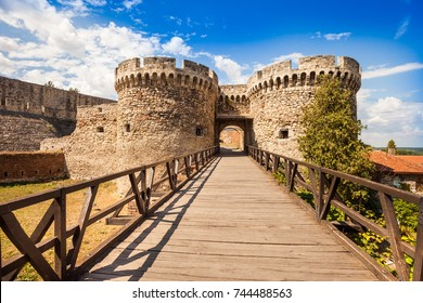 Belgrade's Kalemegdan Fortress with historic castle towers, gate, and bridge, Serbia
