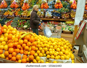 BELGRADE,SERBIA - CIRCA JANUARY 2007: Unidentified customer buys food in supermarket, circa January 2007 in Belgrade