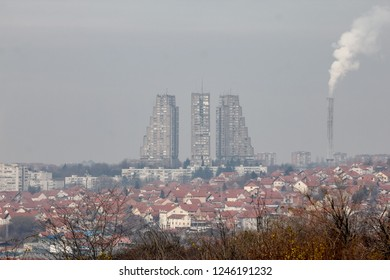 Belgrade/Serbia - December 01 2018: Streets of the Belgrade in the fog. Belgrade is a largest town in the Serbia, and capital of the country.