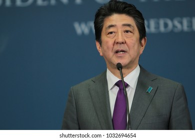 Belgrade,Serbia - January 15, 2018 : The Prime Minister of Japan Shinzo Abe during press conference at President Palace for a working visit in Serbia