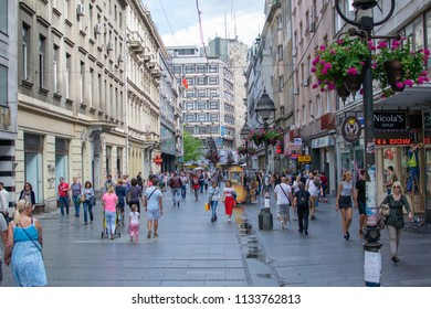 Belgrade,Serbia-July 11,2018.Image shows people walking at the Knez Mihailova Street.