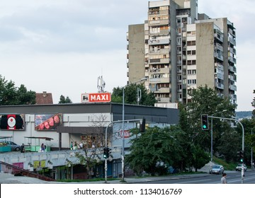 Belgrade,Serbia-July 12,2018.Image shows the building of a Maxi supermarket.