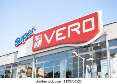 Belgrade,Serbia-July 12,2018.Image shows the entrance of the supermarket Super VERO.