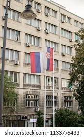 Belgrade,Serbia-July 12,2018.Image shows the flags of Serbia and Russia at a Belgrade's street.