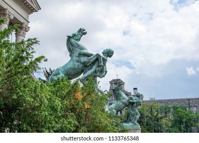 Belgrade,Serbia-July 12,2018.Image shows he statues outside of the parliament of Serbia.