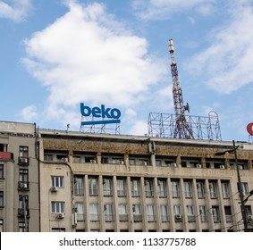 Belgrade,Serbia-July 12,2018.Image shows the metal sign of Turkish company Beko placed on the top of a building.