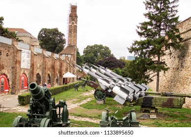 Belgrade,Serbia-July 12,2018.Image shows the outdoor army museum of the fortress Kalemegdan.