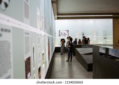 Belgrade,Serbia-July 12,2018.Image shows people observing the exhibits at the national museum of Serbia.