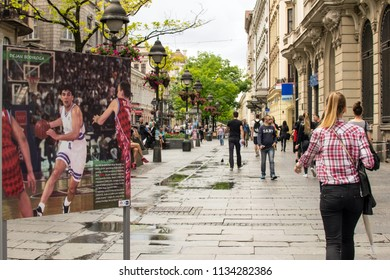 Belgrade,Serbia-July 12,2018.Image shows a poster of the famous basketball player Dejan Bodiroga placed at a road of the city.