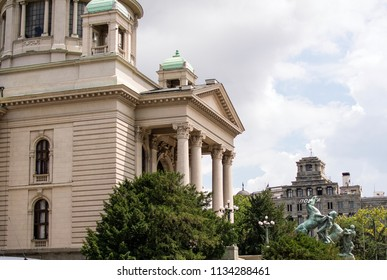 Belgrade,Serbia-July 12,2018.Image shows the Serbian parliament from the side of the road.