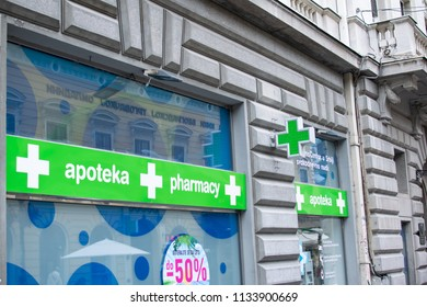 Belgrade,Serbia-July 12,2018.Image shows the showcase of a pharmacy store.
