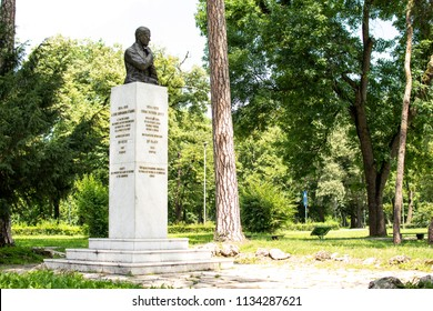 Belgrade,Serbia-July 12,2018.Image shows the statue of Archibald Reiss at the Topcider park.