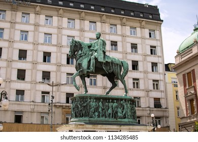 Belgrade,Serbia-July 12,2018.Image shows the statue of Prince Mihailo.
