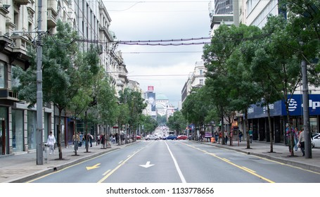 Belgrade,Serbia-July 12,2018.Image shows a view of the King's Milan street with the church of Saint Sava.