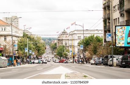 Belgrade,Serbia-July 12,2018.Image shows a view of the Knez Milos street at a cloudy day.