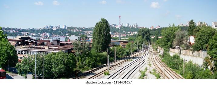 Belgrade,Serbia-July 12,2018.Image shows a view of the Rakovica suburb.