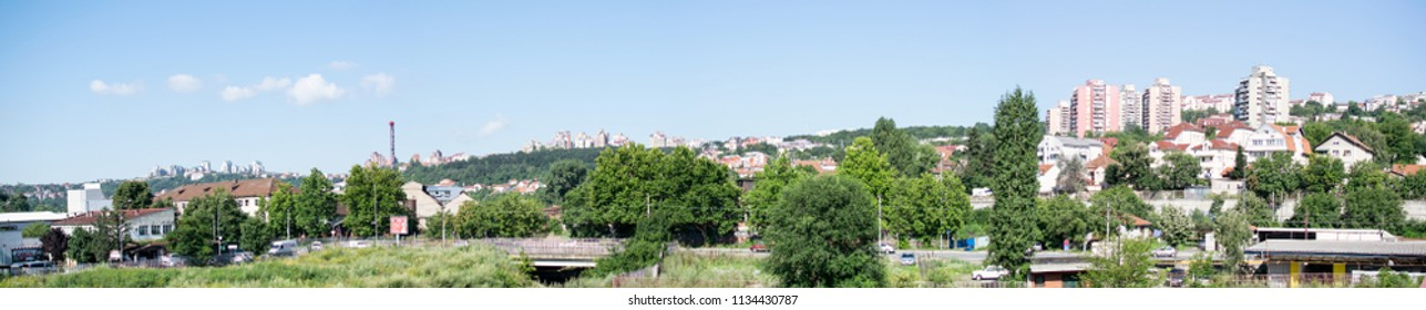 Belgrade,Serbia-July 12,2018.Image shows a view of the Vidikovac suburb.