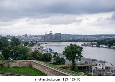 Belgrade,Serbia-July 12,2018.View from the Kalemegdan fortress at the Sava river and the city.