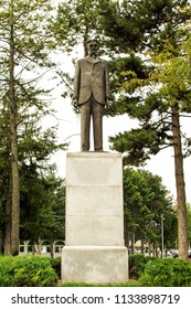 Belgrade,Serbia-July 13,2018.Image shows the statue of Nikola Tesla placed at the airport of the city.