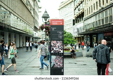 Belgrade,Serbia-July 7,2018.People walking at Knez Mihailova Street the most famous street of the city.