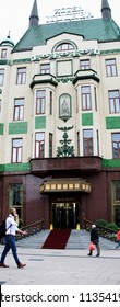 Belgrade,Serbia-July 8,2018.Image shows the Moskva(Moscow) hotel one of the oldest in the city.