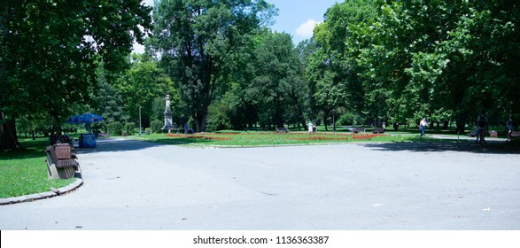 Belgrade,Serbia-July 9,2018.A view of the Topcider park of the homonymous suburb.