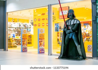 Belgrade,Serbia-July 9,2018.Image shows the facade of a Lego store with a Darth Vader figure outside of it.
