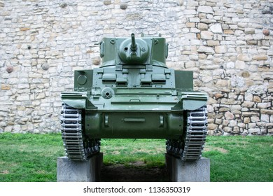 Belgrade,Serbia-July 9,2018.Small tank at the outdoor exhibition of the Kalemegdan fortress.