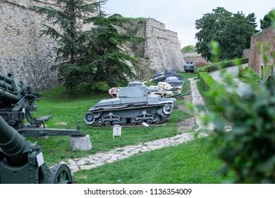 Belgrade,Serbia-July 9,2018.Tanks from World War 1 at the Kalemegdan fortress.