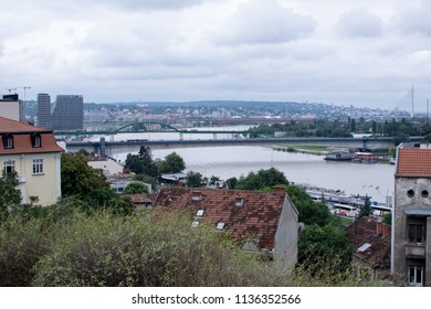 Belgrade,Serbia-July 9,2018.View of Sava river and Branko's Bridge.