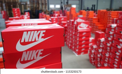 Belgrade,Serbia,March 20 2016. Nike sneakers boxes. Nike, multinational company. Product boxes shots. Phtos are taken in warehouse before shipment to the stores. Editorial photography.